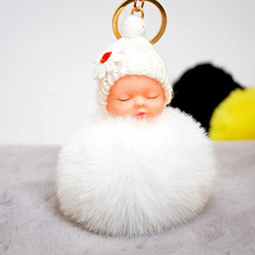 Flytise Lindo Pequeño Flor Dormir Muñeca Fake Fur Fluffy Ball Llavero Bolsa Llavero Coche Llavero Colgante de Dibujos Animados Adornos Regalos Color Blanco