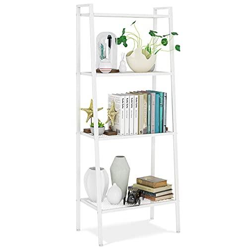 Bücherregal Standregal mit 4 Böden Leiterregal Pflanzenregal Badregal Stufenregal Treppenregal Lagerregal Metall weiß 60x35x147cm