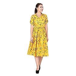Peplum Drawstring Waist Flared Floral Dress