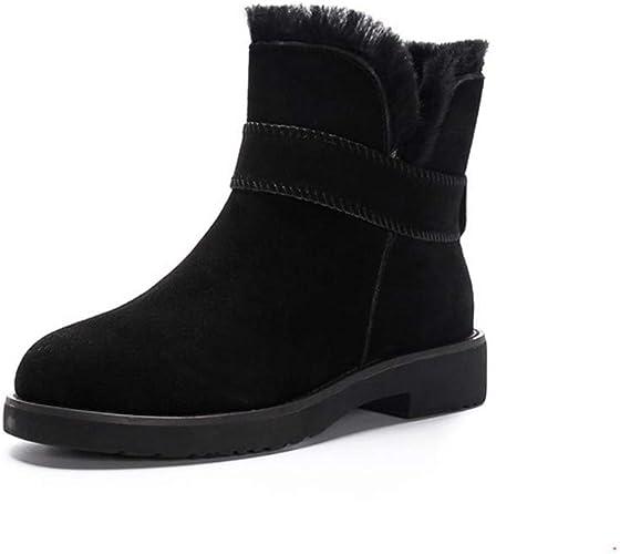 YKFCHDX Wohommes chaussures Winter Joker Snow bottes Warmth Fashion,noir Cotton,Forty