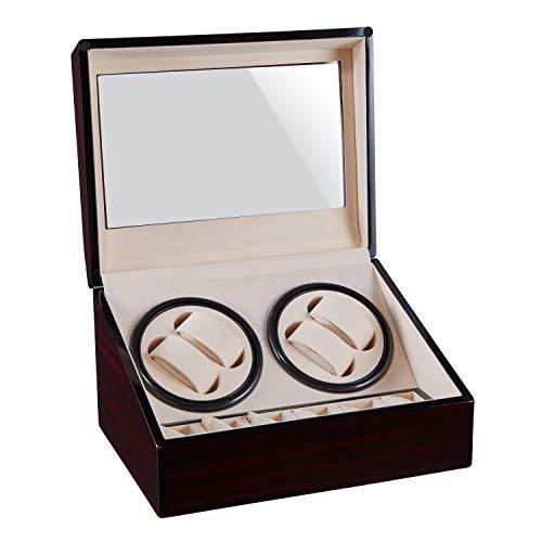 WENZHE Cajas giratorias 4 + 6 Reloj Automático Bander Relojes De Madera Relojes De Madera Caja De Almacenamiento Caja De Recolección Pantalla Pantalla Doble Cabeza Silent Motor Shake Box