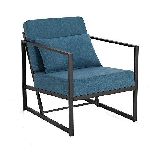 Mingone Gepolsterter Sessel Einzelsofa Mehrsitzsofa Metallrahmen Leinen Weicher Sitz Eleganter Retro-Stuhl für Wohnzimmer Empfang Café(Blau, 60 x 72 x 72 cm)