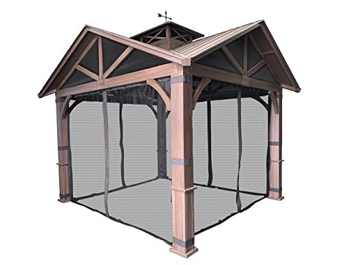APEX GARDEN Replacement Mosquito Netting with Slider Rail for Allen + roth Model #GF-18S112B (Screen Net w/Slider Rails ONLY) (Black)