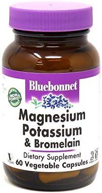 BlueBonnet Magnesium Potassium Plus Bromelain Vegetarian Capsules, 60 Count
