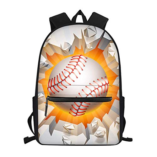 Trendy Baseball College Backpack Small Casual School Bags for Girls Boys High School Bookbags Lightweight Daypacks