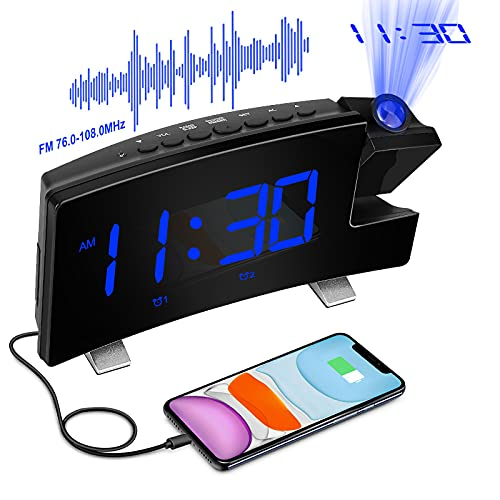 """Digital Projection Alarm Clock Large 8"""" LED Curved Screen Display with..."""