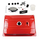 FLYPIG 5-8KW Red Universal 7 Gallon (US) Generator Gas Fuel Tank with Chrome Cap and Fuel Valve Assembly Fits 26.5 Liters