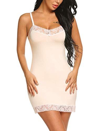 Avidlove Damen Unterröcke Unterkleid Underskirt Nachthemd Nachtwäsche sexy Negligee Miederkleid Trägern Frauen Shapewear, Beige, EU L