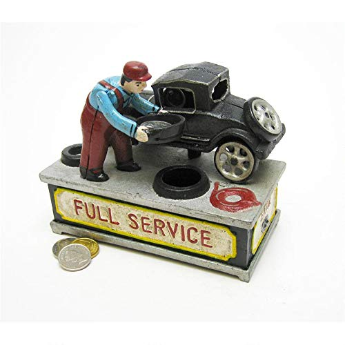 Design Toscano SP1589 Model T at the Service Station Authentic Foundry Cast Iron Mechanical Bank,full color