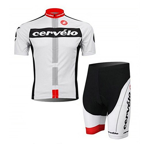 Men's Cycling Jersey Set Bike Jersey Bicycle Summer Breathability Short Sleeve Suit C112 (A, XL)