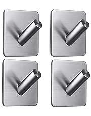 Zelfklevende haken, roestvrij staal, zonder boren, kan worden gebruikt voor het ophangen van badjassen, handdoeken, kledinghaken en toiletartikelen, geschikt voor keuken, badkamer, woonkamer