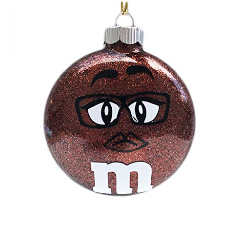 Family Connections M&M MS. Brown 2.66' Round Glass Glitter Ornament Christmas Keepsake