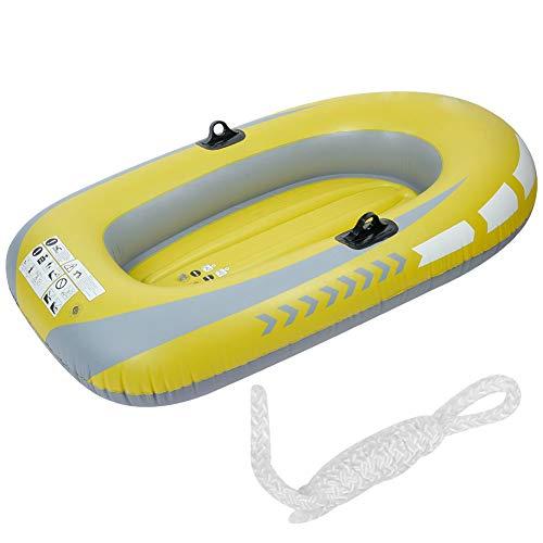 SANON Aufblasbares Boot Radeau gelb PVC 2 Personen Flugzeug Luftboot Angeln Tauchwerkzeug Kajak Wandern ohne Bezug Sommer für Kinder Erwachsene Traglast 90 kg
