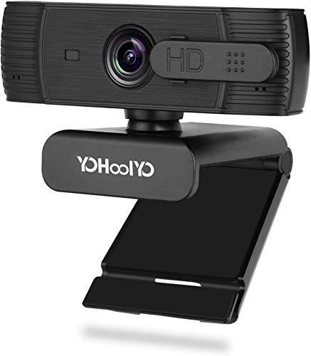 YOHOOLYO Webcam 1080P Full HD con Micrófono Estéreo Enfoque Automático Cámara Web USB con Cubierta de Privacidad Compatible con Windows, Mac Android