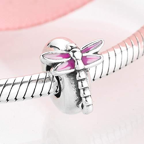 DASFF Rosa Bella Libellula Charms Fermo distanziatore Perline Argento Sterling 925 Misura Originale Braccialetto con Ciondolo Creazione di Gioielli