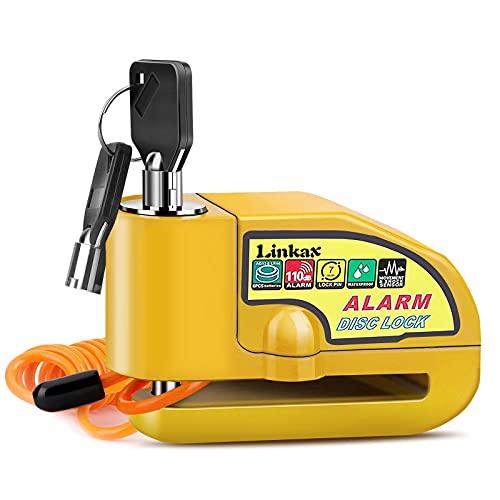 Disc Brake Lock, Linkax Motorcycle Alarm Disc Lock Motorbike Bike Scooter Security Lock Waterproof 110dB Alarm Sound with 1.5M Reminder Cable Keys & Carry Pouch for Motorbike Bike Scooter