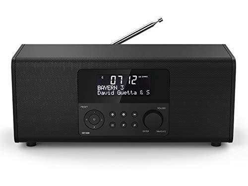 Hama Digitalradio DR1400 (DAB/DAB+/FM, Radio-Wecker mit 2 Alarmzeiten/Snooze/Timer, 4 Stationstasten, Stereo, beleuchtetes Display, kompaktes Digital-Radio) schwarz