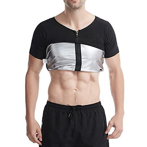 Ypnrd Hombres Entrenador De Cintura Chaleco De Sudor Trajes De Sauna Camisas De Entrenamiento para Perder con Cremallera Peso,Black 1,XXL/3XL