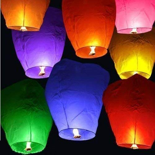 BKYS ONLINE Paper and wax Sky Lanterns Multicolor Wishing Candle Hot Air Balloon for Diwali/Marriage/Christmas/All Festival (Multicolor) - Set of 4