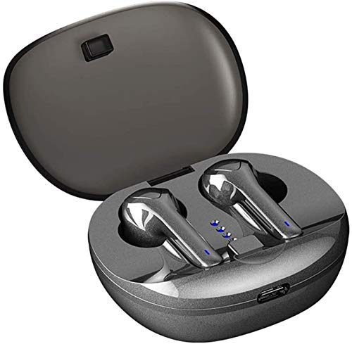 RTUTUR Bluetooth 5.0 Auriculares inalámbricos con la Caja de Carga con cancelación de Ruido Auriculares a Prueba de Agua en el oído Incorporado micrófono de un Lado for el Deporte - Negro