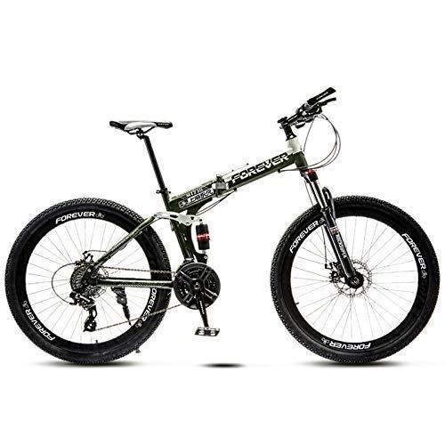 Biciclette Mountain Bike 26 Pollici Adulti Bambini Bicicletta Biammortizzata, Freno a Disco Idraulico, Pieghevole Bicicletta da Montagna,Green Spokes,24 Speed