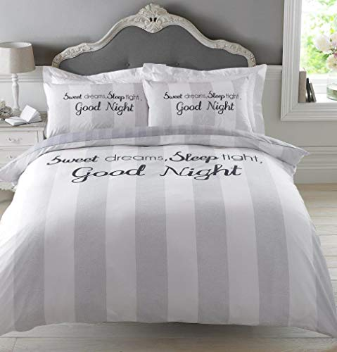 Dreamscene Sweet Dreams Duvet Cover with Pillowcase Bedding Set, 100% Polyester, Machine Washable, Grey Silver, Double