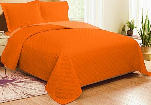 CosiCasa - Colcha de matrimonio acolchada reversible de 100 gramos (250 x 250 cm), colcha de matrimonio ligera primaveral y otoñal, para cama ligera de 2 plazas (naranja claro/oscuro)