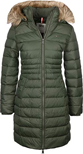 Tommy Jeans Damen Essential Hooded Down Langarm Jacke Grün (Kombu Green 399) X-Small
