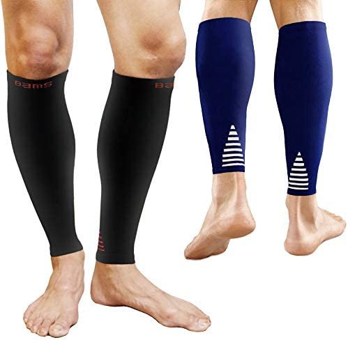 BAMS 2 Pairs Premium Bamboo Calf Compression Sleeve Large Graduated Fit Toeless Leg Socks for product image