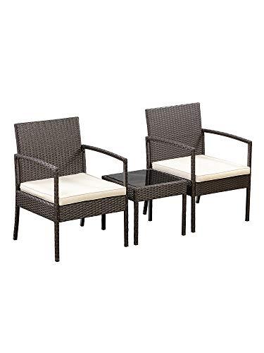 AmazonBasics Outdoor Patio Garden Faux Wicker Rattan Chair Conversation Set with Cushion - 3-Piece Set, Brown