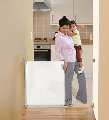 Stork Child Care- Cancelletto Di Sicurezza Retrattile Per Aperture Fino A 85x140 Cm- Bianco