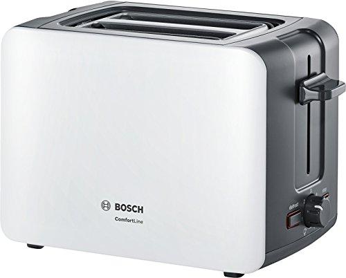 Bosch Kompakt Toaster ComfortLine TAT6A111, integrierter Edelstahl-Brötchenaufsatz, mit Abschaltautomatik, mit Auftaufunktion, perfekt für 2 Scheiben Toast, Liftfunktion, breit, 1090 W, weiß