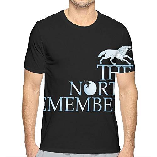 ngxianbaimingj Hombres White Wolf Inscripción North Remembers Silhouette Juego de Tronos 3D Camiseta de Moda para Adultos