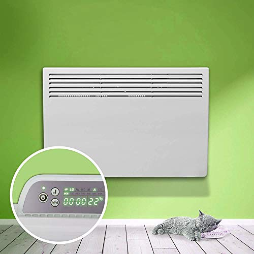 UKEW Eco White Electric Panel Heater 24 Hour 7 Day Digital Timer With Thermostat Wall Mounted Or Free Standing Lot 20 Compliant. (1500 Watt)