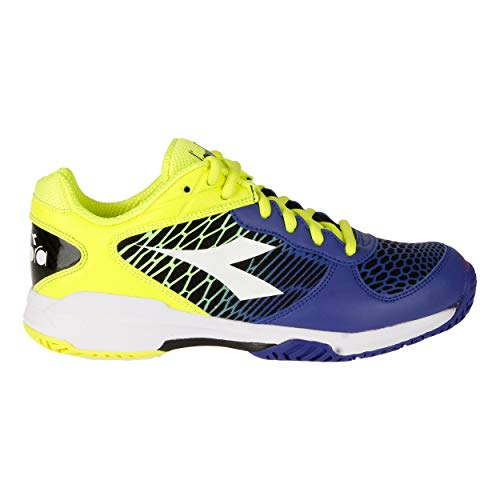 Diadora Kinder Speed Competition AC Junior Tennisschuhe Allcourtschuh Blau-Neongelb 35, Scarpe da Tennis Bambini (Unisex), Royal/Bianco/Giallo Fluo, EU