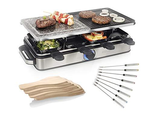 Parrilla XL Raclette para fiestas de mesa grande para 8 personas, parrilla reversible de piedra y parrilla con 8 tenedores de té, superficie de parrilla 2 x 21 x 21 cm, 1400 W