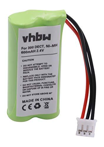 vhbw NiMH batería 600mAh (2.4V) para teléfono Fijo inalámbrico Philips Kala 300, 300 Vox, 3322, 3350 por 2HR-AAAU, H-AAA600X2, H-AAA500X2.