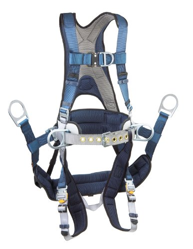3M DBI-SALA ExoFit 1108657 Tower Climbing Harness, Front/Back/Side D-Rings, Belt/Back Pad, Seat Sling w/Position D-Rings, QC Buckles, X-Large, Blue/Gray