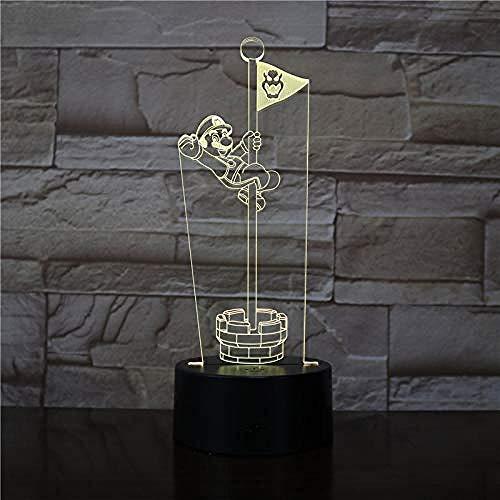 3D Ilusión óptica Lámpara LED LED Luces nocturnas Super Horn mejor regalo de para niños y niñas Con interfaz USB, cambio de color colorido