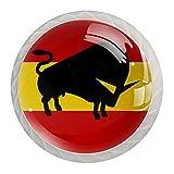 Perillas abstractas de cristal con silueta de toro en la bandera española, perillas de cristal para aparador, cajón, armario, paquete de 4