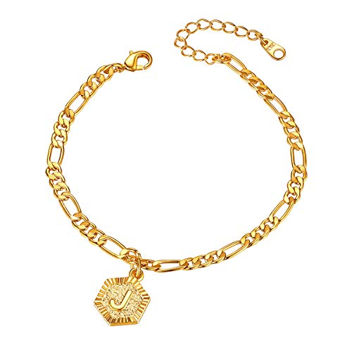 FOCALOOK 18K Gold Plated Flat Figro Chain Link Anklet for Men Women with Initial Letter Charms(J)