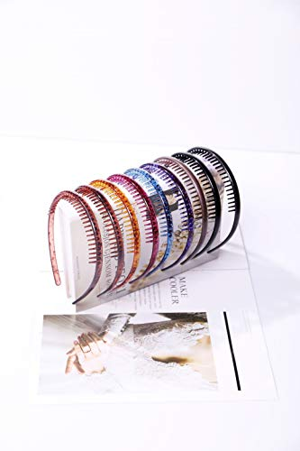 Prettyou Teeth Headband No Slip Teeth Comb Hairband Set Fashion Styling Multicolor Assorted Accessories Hair Holder Organizer Grip Hoop for Women Girls, Pack of 9 (Colorful)