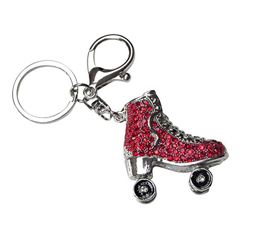 Taschenschmuck, Schlüsselanhänger, Rollschuh, silberfarben, Strass, rot.
