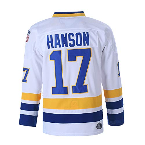 Hanson Brothers Charlestown Chiefs 16 Jack 17 Steve 18 Jeff Slap Shot Movie Ice Hockey Jersey (17 White, Medium)