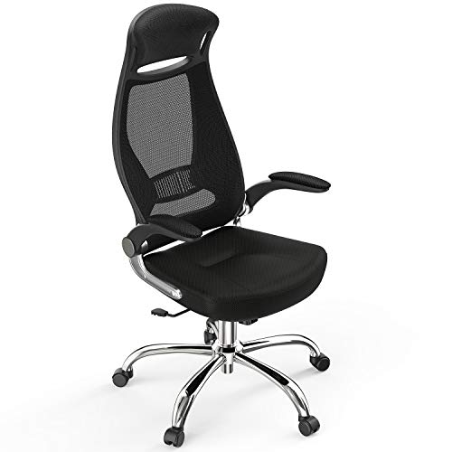 High-Back Computer Mesh Office Chair, NATRKE Swivel Ergonomic Task Chair with Adjustable Armrest, Desk Chair Home Office Chair, Executive Chair with Smooth Casters,Black