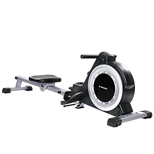 Rowing Machine Indoor Foldable Magnetic Rower with 16 Level Adjustable Quiet Magnetic Resistance, Ergonomic Seat and LCD Monitor Cardio Exercise Training for Home Use