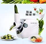 Rotary Cheese Grater Mandoline Vegetable Slicer Salad Maker Machine with 5 Interchangeable Blades, 220V Electric Shredder/Grater Slicer Grinder for Fruit, Vegetables, Nuts Chocolate (White)