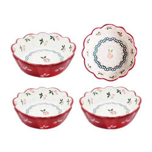 OISII Kirsch-Pfanne, rund, Servierschüssel-Set für Müsli, Pasta, Fruchtsauce, Teller zum Kochen, Backgeschirr-Set von 4 (Rote Kirsche)