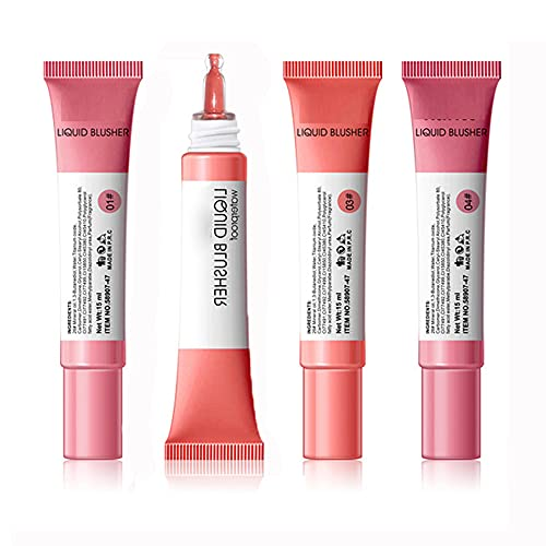 Fard à joues liquide, sensation respirante de texture légère, maquillage de fard à joues crème en gel d'apparence naturelle, cosmétique de fard à joues longue durée imperméable (4PCS)