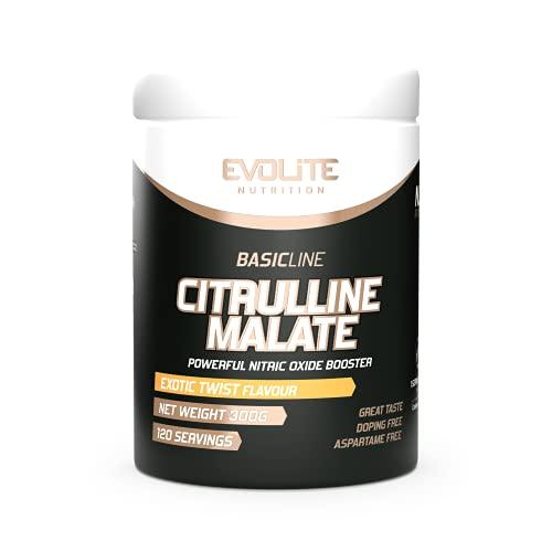 Evolite Nutrition Citrulline Malate 300g - Pump Booster - Pre Workout - Aumento della forza - Pompa muscolare - Forza muscolare (Exotic Twist)